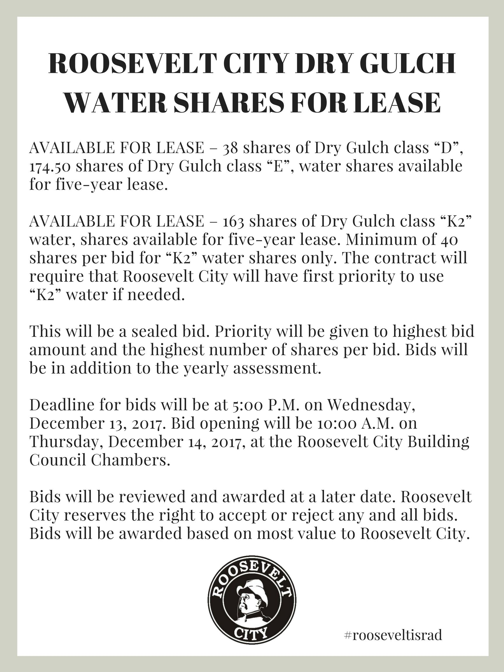 ROOSEVELT CITY DRY GULCH WATER SHARES FOR LEASE