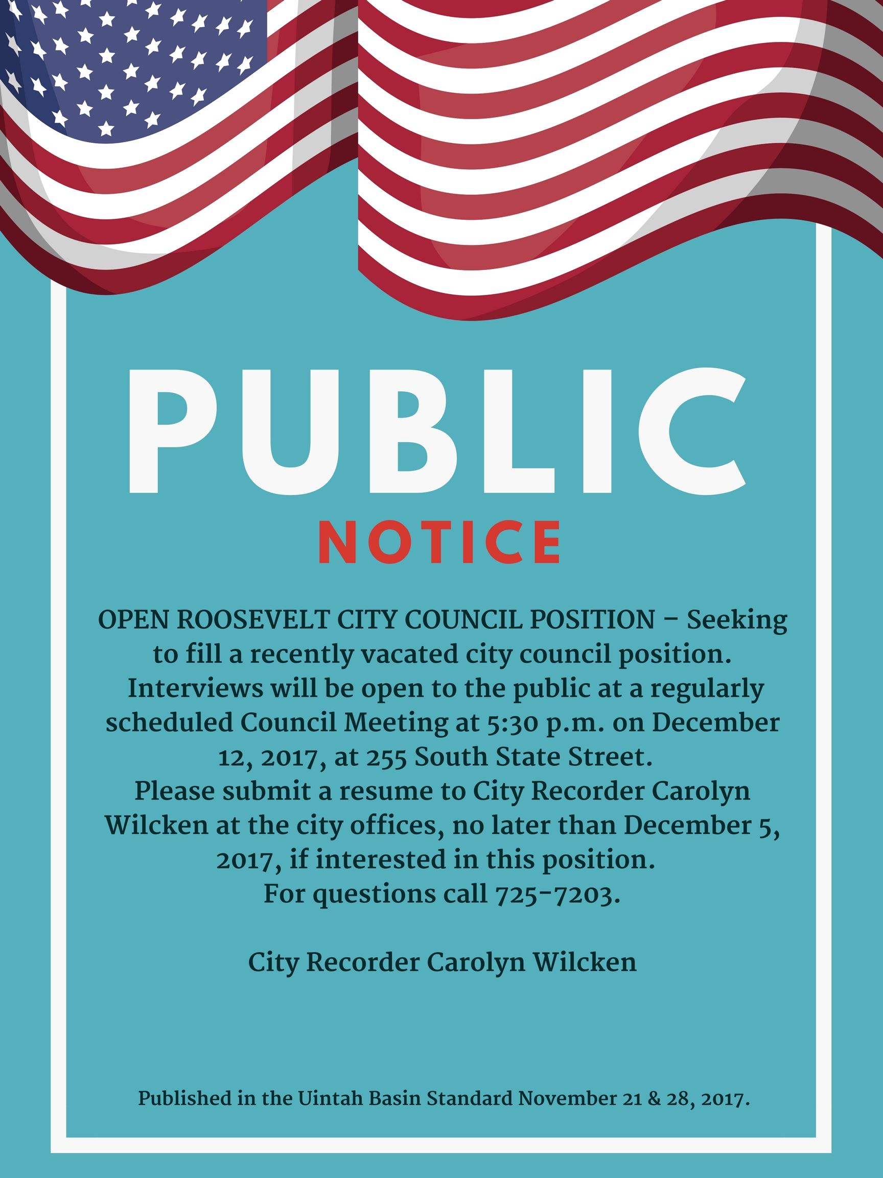 Public Notice Open Council Position