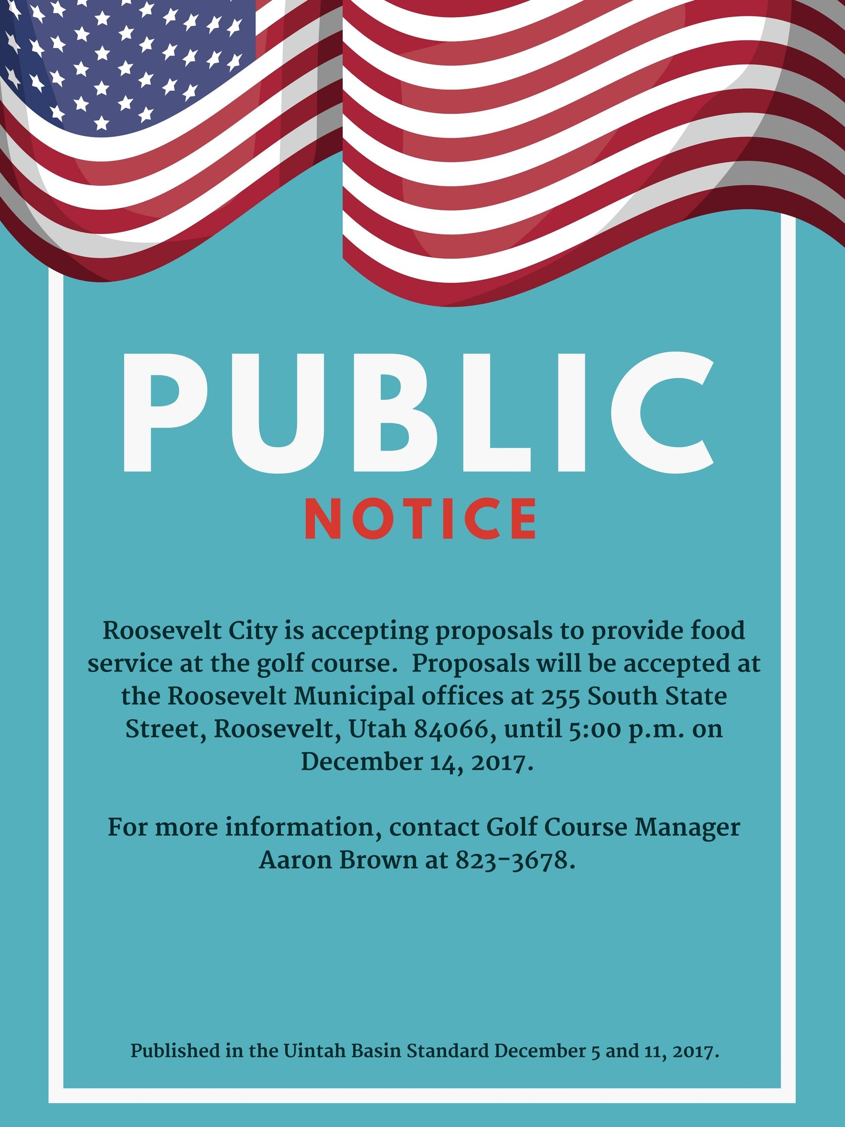 Public Notice food service proposals