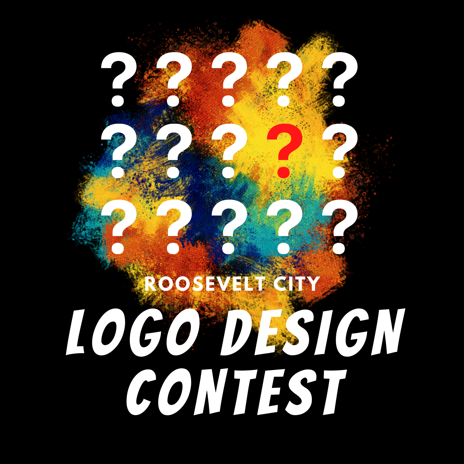 "The text ""Roosevelt City Logo Design Contest"" appears over a background of paint splashes."